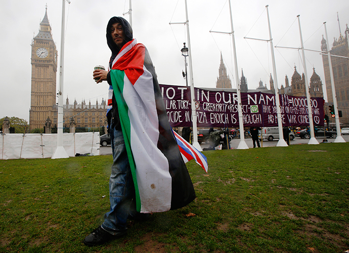 A pro-Palestine supporter wears a Palestinian and Union flag outside the Houses of Parliament in London October 13, 2014. (Reuters / Luke MacGregor)