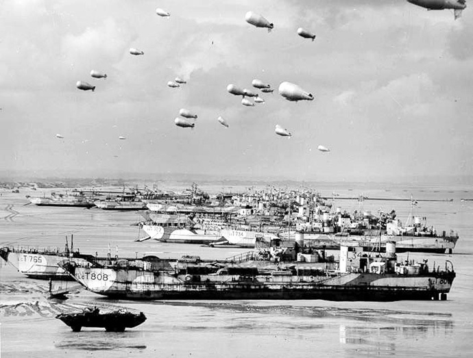 British LCT's line the Normandy shore, June 1944. (Reuters)