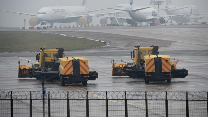 Near a site where a single-engined Falcon aircraft has crashed at Moscow's Vnukovo airport (RIA Novosti / Maksim Blinov)<br />