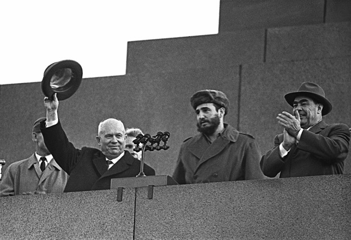 ikita Khrushchev, Chairman of the Council of Ministers of the USSR, left, Prime Minister of the Revolutionary government of the Republic of Cuba Fidel Castro, center, Chairman of the Presidium of the Supreme Soviet of the USSR Leonid Brezhniv onthe Lenin Mausoleum in Moscow at a meeting arranged on the occasion of the Cuban's leader visit to he USSR. (RIA Novosti/David Sholomovich)