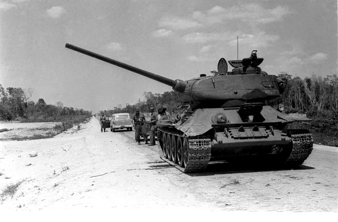 A tank of the Cuban Armed Forces sits in position near the area where some 1,500 anti-Castro allies came ashore at Playa Giron beach during the Bay of Pigs invasion on the south coast of Cuba, in this April 1961 file photo. (Reuters)