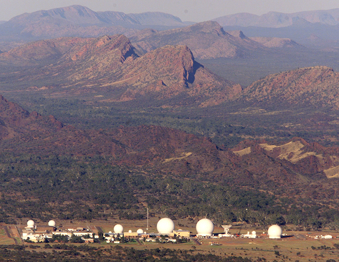 Picture shows an aerial view of Pine Gap, a joint U.S.-Australian listening and tracking base at the foot of the McDonnell Ranges on the outskirts of Alice Springs in central Australia (Reuters)