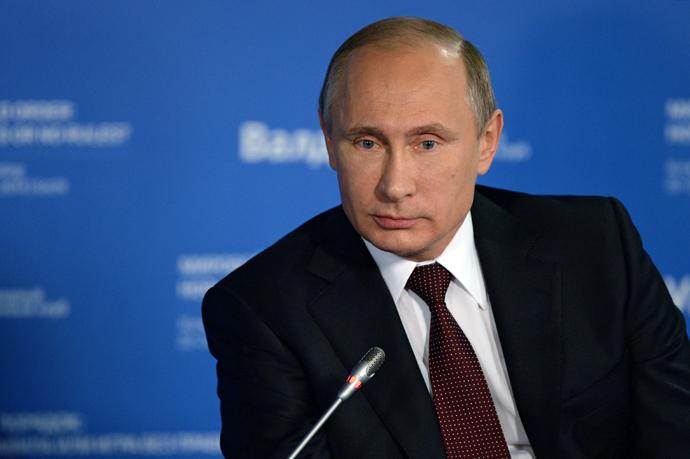 Russian President Vladimir Putin during the final plenary meeting of the 11th session of the Valdai International Discussion Club in Sochi. (RIA Novosti / Mikhail Voskresenskiy)