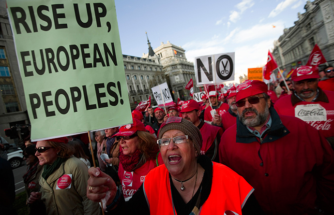 A woman shouts slogans as she protests during a demonstration against European and Spanish austerity measures in Madrid (Reuters / Sergio Perez)