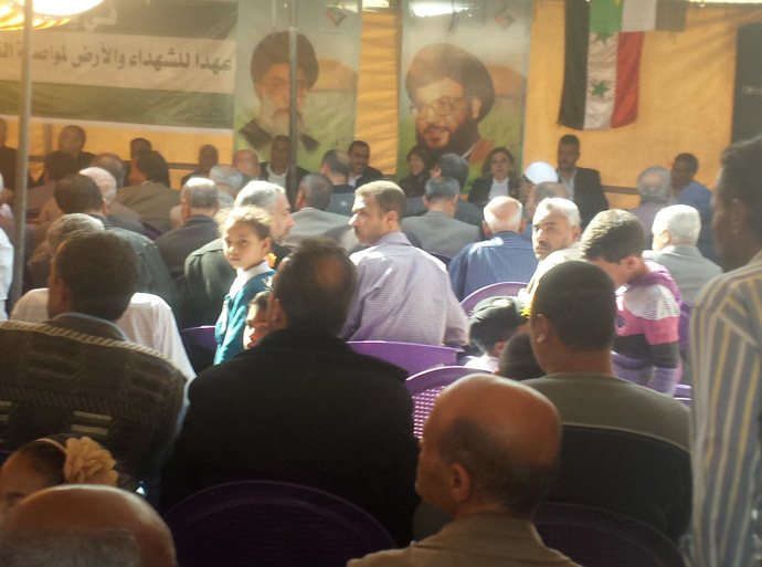 In Jeramana on Yom al-Ard (Land Day), Palestinians gather for a ceremony to honor volunteer teachers. The event is sponsored by the decade-old Palestinian-Iranian Friendship Association.