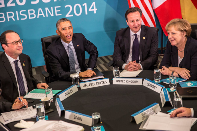 (L-R) French President Francois Hollande, US President Barack Obama, Britain's Prime Minister David Cameron and Germany's Chancellor Angela Merkel take part in a multi-lateral meeting on the sidelines of the G20 Summit in Brisbane on November 16, 2014.(AFP Photo / Glenn Hunt)