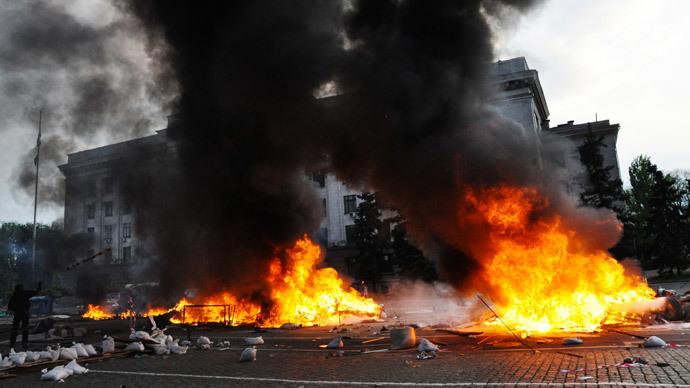 Mass riots at the Trade Union House in Odessa.(RIA Novosti / Maxim Voitenko)