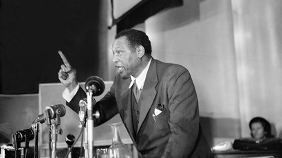 An undated picture shows US actor and singer Paul Robeson giving a speech (AFP Photo)