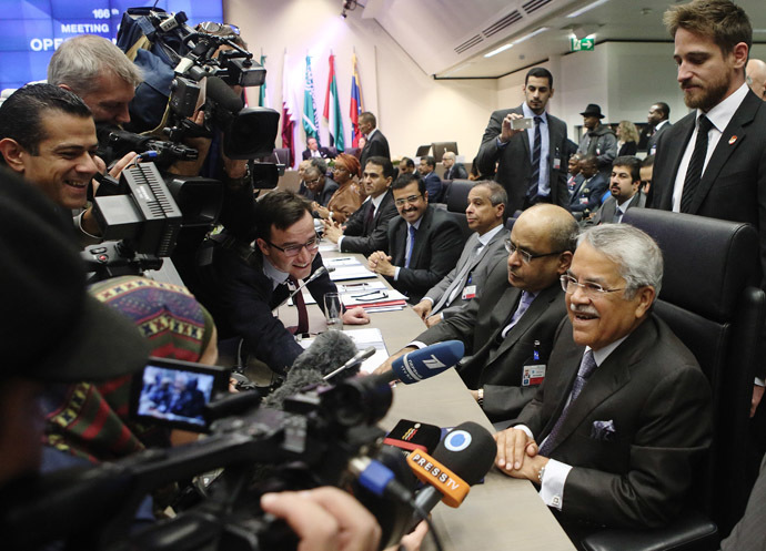 Saudi Arabia's Oil Minister Ali al-Naimi talks to journalists before a meeting of OPEC oil ministers at OPEC's headquarters in Vienna November 27, 2014. (Reuters/Heinz-Peter Bader)