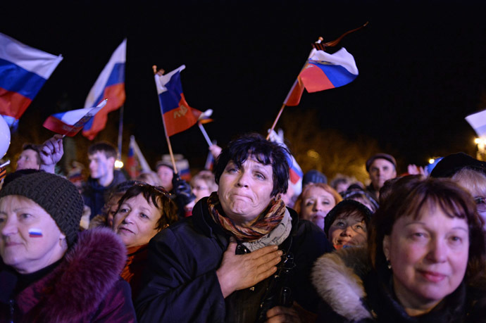 Sevastopol residents at a celebratory show held after the referendum on Crimea's status. (RIA Novosti/Valeriy Melnikov)