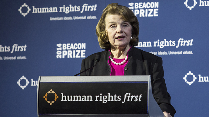 Sen. Dianne Feinstein (D-CA) delivers remarks about the Senate Intelligence Committee's report on the Central Intelligence Agency's detention and interrogation program (Drew Angerer / Getty Images / AFP)