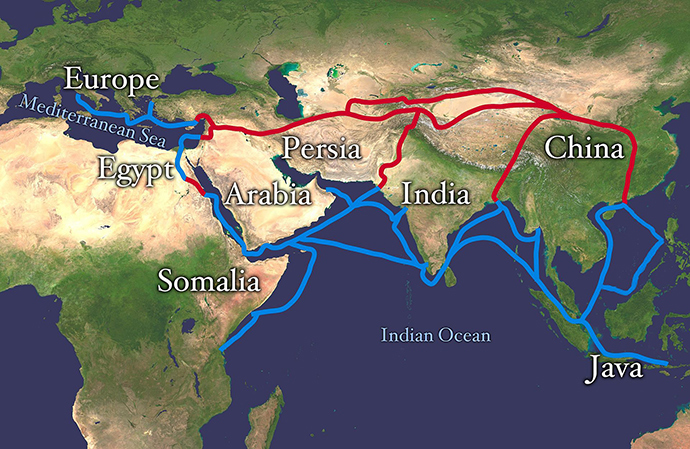 Main routes of the Silk Road (Image from wikipedia.org)
