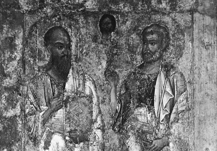 "The icon ""Apostles Peter and Paul,"" mid 11th century. The album ""Icon Painting."" Egg tempera on wood. Reproduction. (RIA Novosti/M. Filimonov)"
