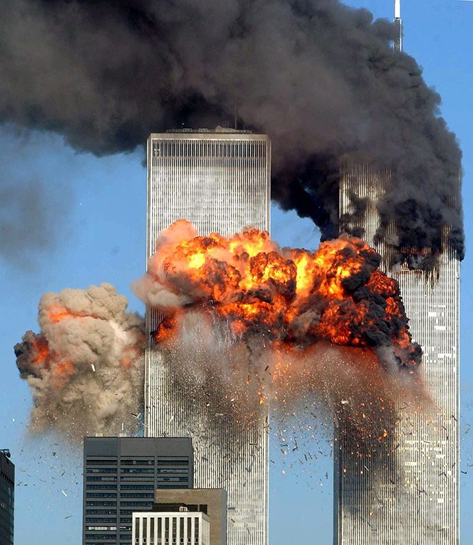 Hijacked United Airlines Flight 175 from Boston crashes into the south tower of the World Trade Center and explodes at 9:03 a.m. on September 11, 2001 in New York City (AFP Photo)