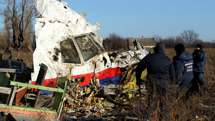Local workers transport a piece of wreckage from Malaysia Airlines flight MH17 at the site of the plane crash near the village of Hrabove (Grabovo) in Donetsk region, eastern Ukraine November 20, 2014.(Reuters / Antonio Bronic)