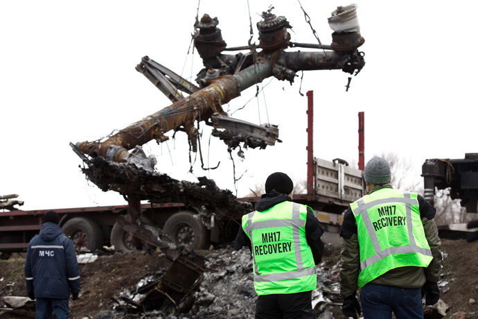 Members of the Dutch expert team watch as parts of the wreckage of the Malaysia Airlines Flight MH17 are removed and loaded on a truck at the crash site near the village of Grabove in eastern Ukraine, on November 16 2014.(AFP Photo / Menahem Kahana)
