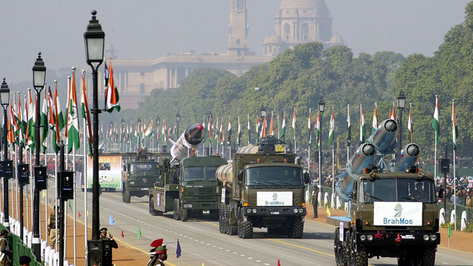 Trucks carrying Bhahmos cruise missiles.(AFP Photo / Ravi Raveendran)