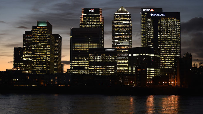 The Canary Wharf financial district is seen at dusk in east London (Reuters/Toby Melville)
