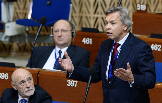 Alexei Pushkov, Chairman of the State Duma Committee on Foreign Affairs, speaks at a plenary meeting of the winter session of the Parliamentary Assembly Council of Europe (PACE). (RIA Novosti/Vladimir Fedorenko)