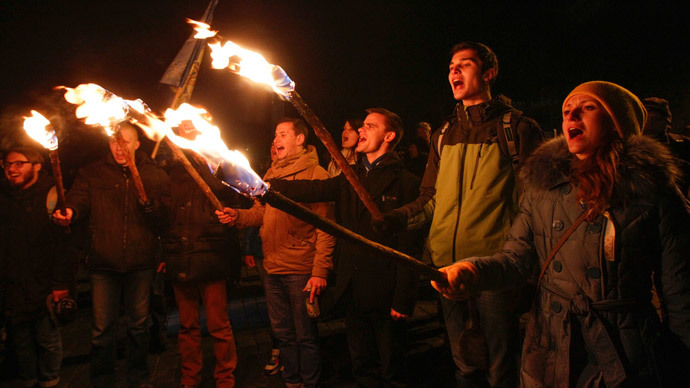 People take part in a rally at the Independence Square in Kiev November 21, 2014.(Reuters / Valentyn Ogirenko)
