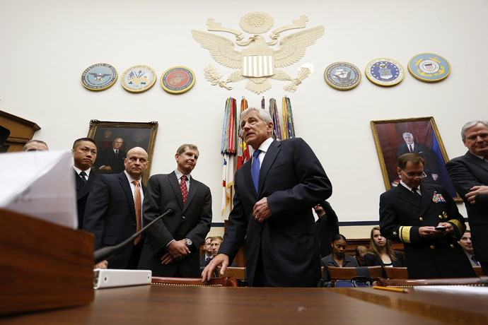 U.S. Defense Secretary Chuck Hagel takes his seat to testify about the Bergdahl prisoner exchange, at a House Armed Services Committee hearing on Capitol Hill in Washington June 11, 2014. (Reuters)