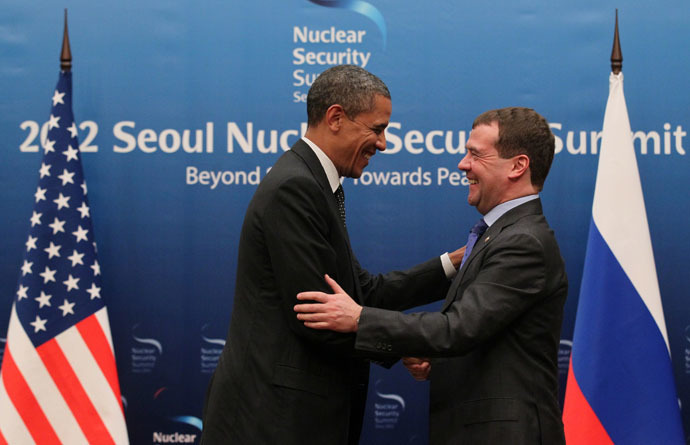 Russian President Dmitry Medvedev (right) and U.S.President Barack Obama pictured during their meeting held in Seoul as part of the Nuclear Security Summit March 26, 2012. (RIA Novosti/Ekaterina Shtukina)