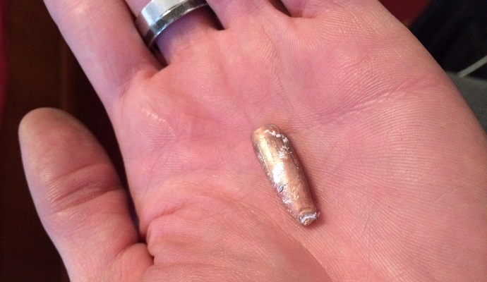 Bullet found at Hotel Ukraina, Kiev, February 2014. Photo by RT's Aleksey Yaroshevsky