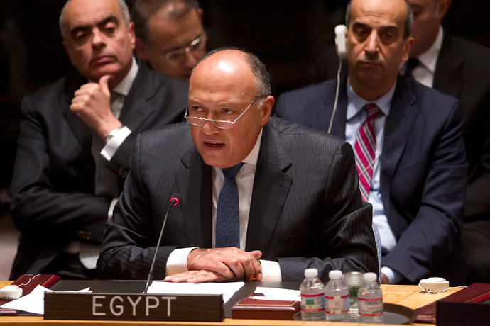 Egyptian Foreign Minister Sameh Shoukry speaks during a United Nations Security Council meeting about the situation in Libya in the Manhattan borough of New York February 18, 2015. (Reuters / Carlo Allegri)
