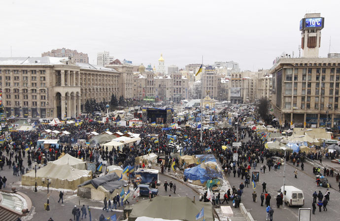Anti-government protesters gather at Independence Square in Kiev January 28, 2014. (Reuters/Vasily Fedosenko)
