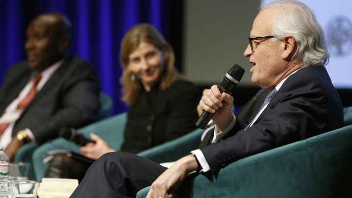 Ambassador Martin Indyk (R) of the Brookings Institution participates in the plenary session of the Fragility, Conflict and Violence Forum at World Bank headquarters in Washington February 13, 2015. (Reuters/Gary Cameron)