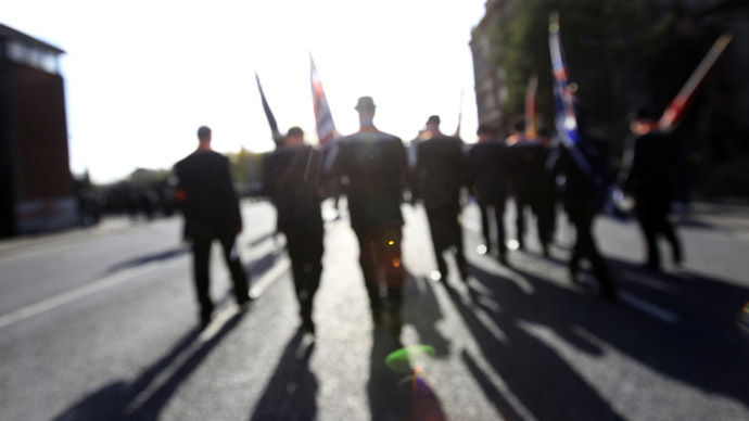 Members of the Orange Order take part in a rally in Belfast to celebrate the 100th anniversary of the signing of the Ulster Covenant September 29, 2012. (Reuters/Cathal McNaughton)