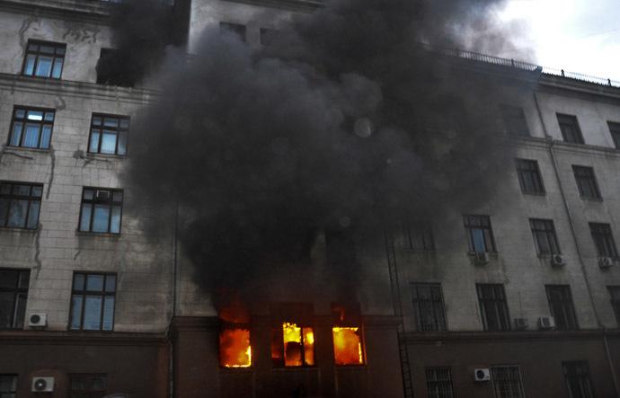 Fire at the Trade Union House in Odessa. (RIA Novosti/Maxim Voitenko)