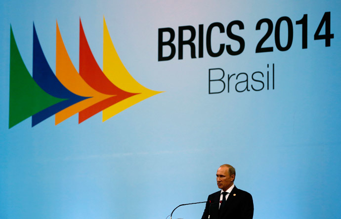 Russia's President Vladimir Putin delivers a speech as he attends the VI BRICS Summit in Fortaleza July 15, 2014.(Reuters / Paulo Whitaker )