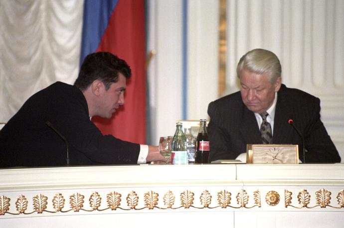 President Boris Yeltsin and deputy prime minister Boris Nemtsov, February 5, 1998 RIA Novosti / Vladimir Rodionov)