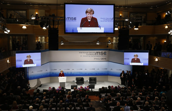 German Chancellor Angela Merkel addresses during the 51st Munich Security Conference at the 'Bayerischer Hof' hotel in Munich February 7, 2015. (Reuters/Michael Dalder)