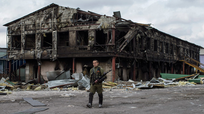 A factory destroyed during shelling, in the town of Nizhnaya Krinka, eastern Ukraine (Reuters / Marko Djurica)