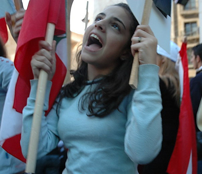 A protestor in Martyr's Square, 2006 (Photo from wikipedia.org)