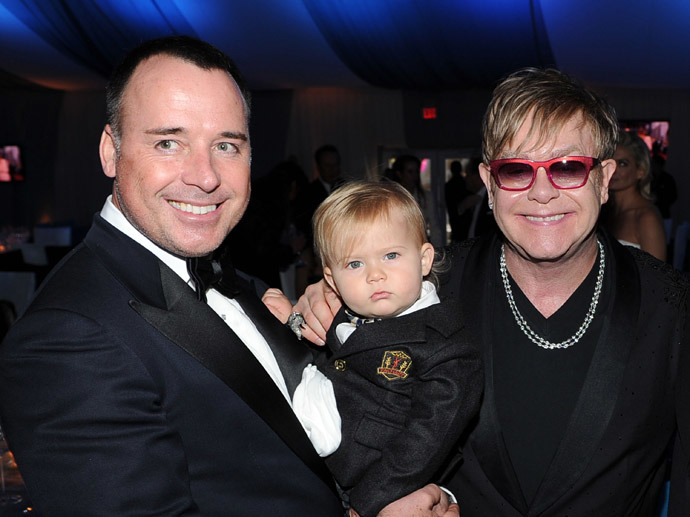 David Furnish, son Zachary and Sir Elton John (Larry Busacca / Getty Images for EJAF / AFP)