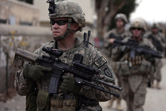U.S. Army soldiers from Task Force Denali Platoon 1-40 CAV patrol at Manzai village in Khowst province, Afghanistan. (Reuters / Zohra Bensemra)