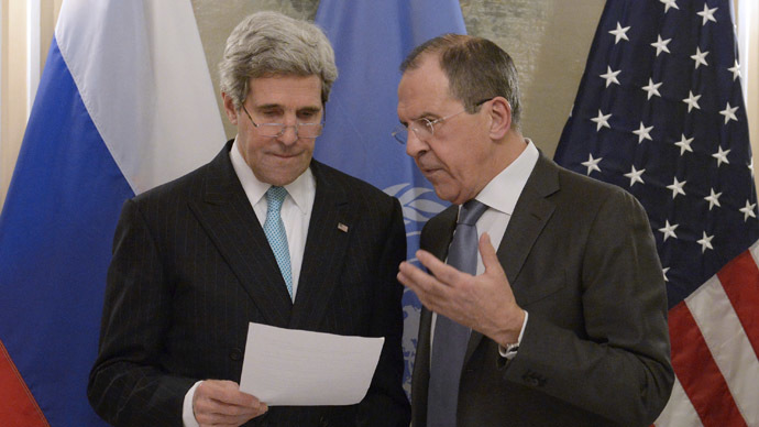 Russian Foreign Minister Sergei Lavrov, right, and U.S. Secretary of State John Kerry at their meeting during the 50th Munich Security Conference. (RIA Novosti/Eduard Pesov)