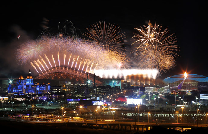 A fireworks display over Fisht Stadium during the opening ceremony of the XXII Olympic Winter Games in Sochi. (RIA Novosti/Vitaliy Belousov)