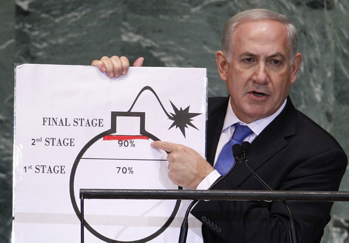 Israel's Prime Minister Benjamin Netanyahu points to a red line he drew on the graphic of a bomb used to represent Iran's nuclear program as he addresses the 67th United Nations General Assembly at the U.N. Headquarters in New York, September 27, 2012. (Reuters/Lucas Jackson)