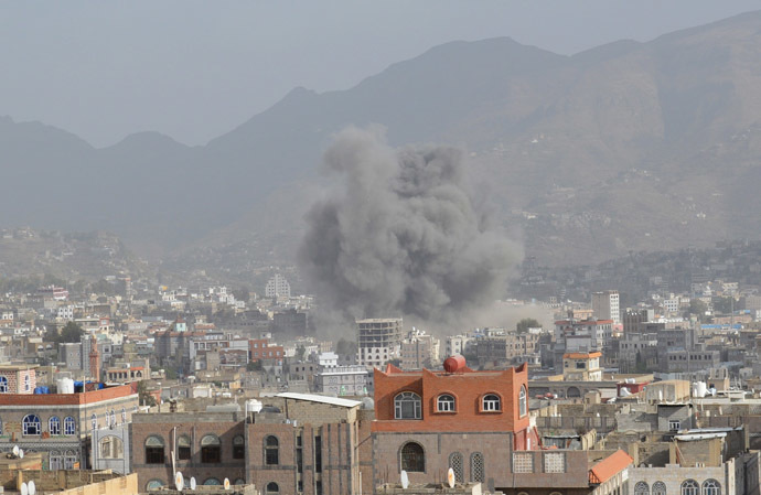 Smoke billows after an air strike in Yemen's central city of Ibb April 12, 2015. (Reuters/Stringer)