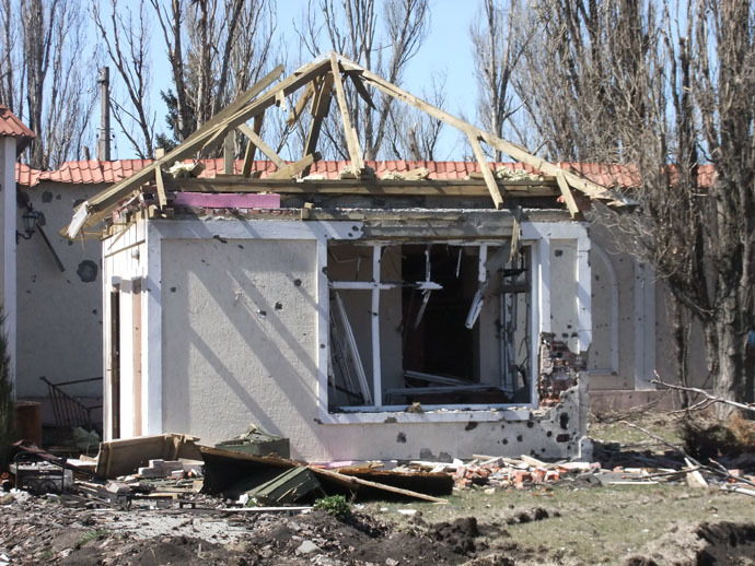 Destroyed home in Spartak, Donetsk Region (RIA Novosti/gor Maslov)