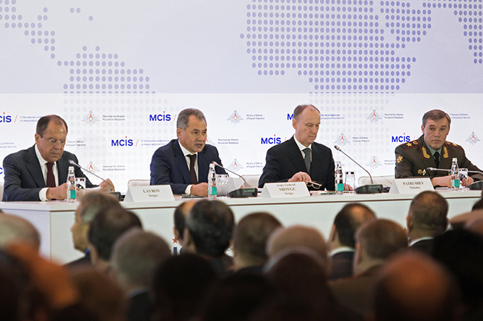 From left: Sergei Lavrov, Foreign Minister, Sergei Shoigu, Defense Minister, Nikolai Patrushev, Security Council Secretary, and Valery Gerasimov, Chief of the General Staff, attending the 4th Moscow international security conference (RIA Novosti / Iliya Pitalev)