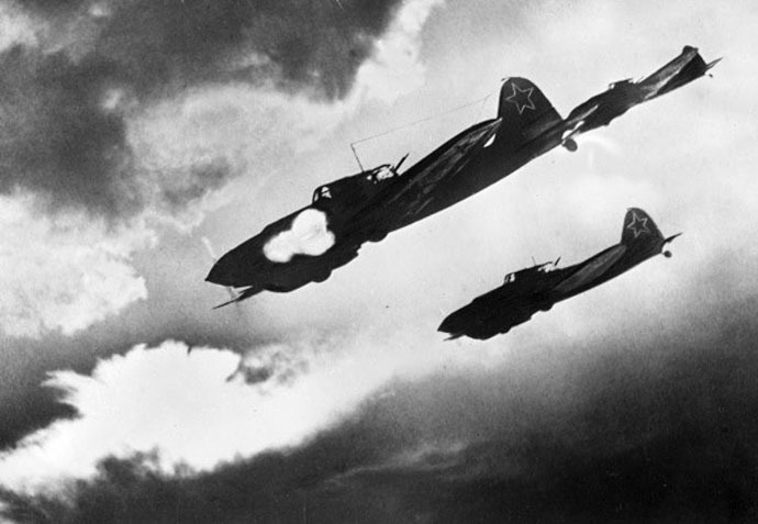 Soviet IL-2 planes attacking a Nazi column. The Kursk Bulge. The Voronezh Front. (RIA Novosti/Fedor Levshin)