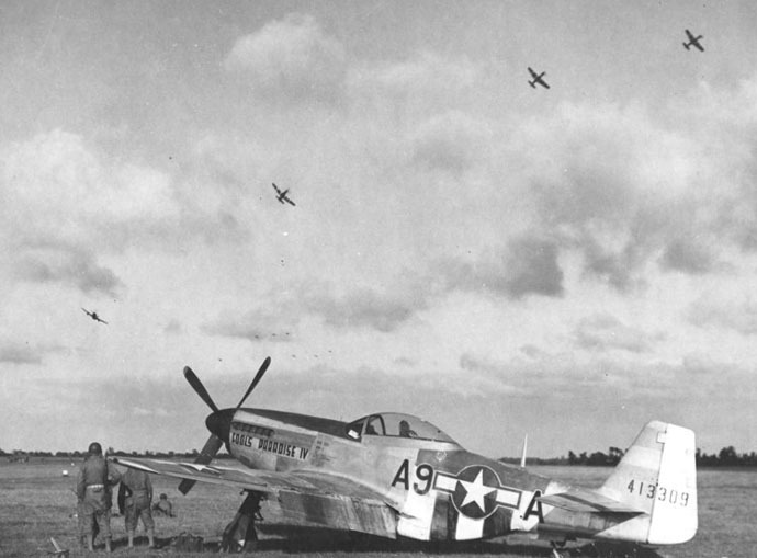 By 1944 Allied air power ruled the skies over France. P-51D Mustang 'Fools Paradise IV' fighter of 363rd Fighter Group, US 380th Fighter Squadron at Maupertus Airfield near Cherbourg, Normandy, France, Jul 4-12 1944 (US Government photo)