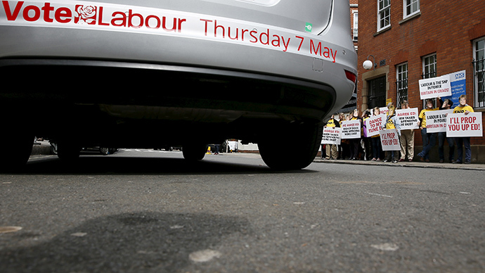 Tory supporters hold banners outside the Royal Horticultural Halls before Britain's opposition Labour party leader Ed Miliband addresses an audience during a campaign event in London, Britain May 2, 2015. (Reuters/Stefan Wermuth)