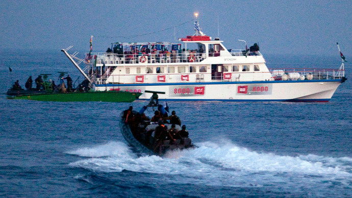 Israeli forces approach one of six ships bound for Gaza in the Mediterranean Sea May 31, 2010. (Reuters)