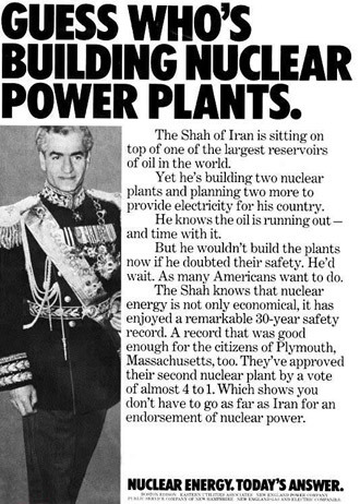 US Advertisement for Nuclear Energy using the Shah's nuclear plans.(Photo from wikipedia.org)